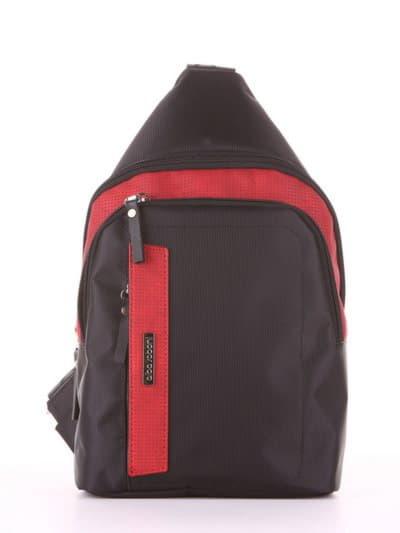 Молодежный моно рюкзак, модель 181622 черно-красный. Фото товара, вид сбоку.