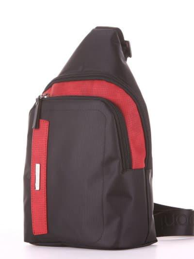 Молодежный моно рюкзак, модель 181622 черно-красный. Фото товара, вид сзади.