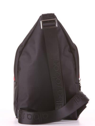 Молодежный моно рюкзак, модель 181622 черно-красный. Фото товара, вид дополнительный.