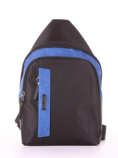 Молодежный моно рюкзак, модель 181623 черно-синий. Фото товара, вид сбоку.