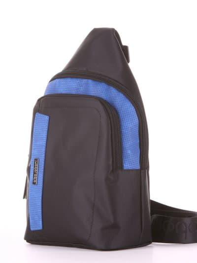Молодежный моно рюкзак, модель 181623 черно-синий. Фото товара, вид сзади.