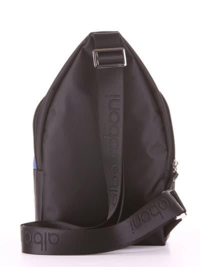 Молодежный моно рюкзак, модель 181623 черно-синий. Фото товара, вид дополнительный.