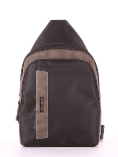 Школьный моно рюкзак, модель 181624 черный-хаки. Фото товара, вид сбоку.