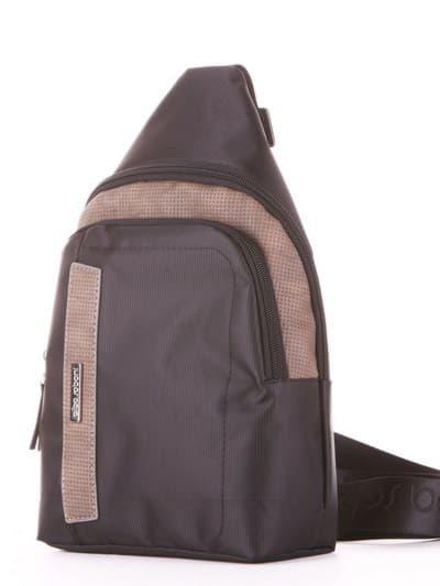 Школьный моно рюкзак, модель 181624 черный-хаки. Фото товара, вид сзади.