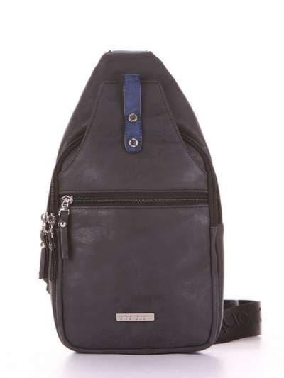 Стильный моно рюкзак, модель 181652 черный. Фото товара, вид сбоку.