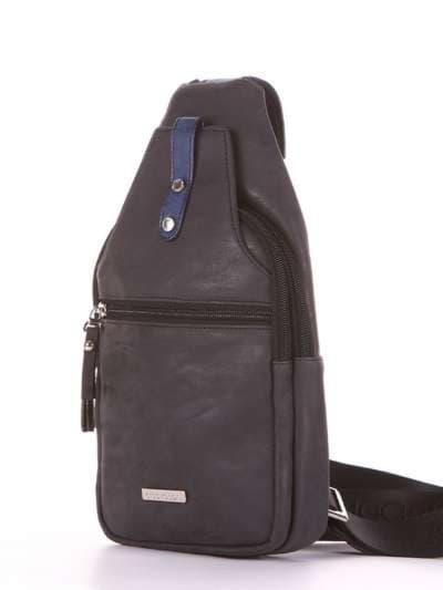Стильный моно рюкзак, модель 181652 черный. Фото товара, вид сзади.