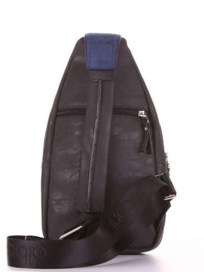 Стильный моно рюкзак, модель 181652 черный. Фото товара, вид дополнительный.