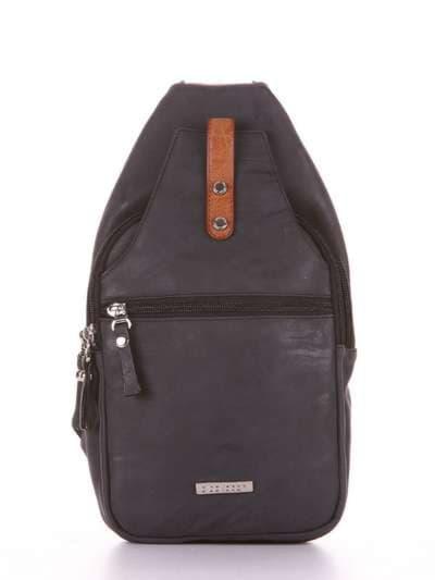 Школьный моно рюкзак, модель 181653 черный. Фото товара, вид сбоку.