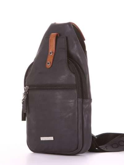 Школьный моно рюкзак, модель 181653 черный. Фото товара, вид сзади.
