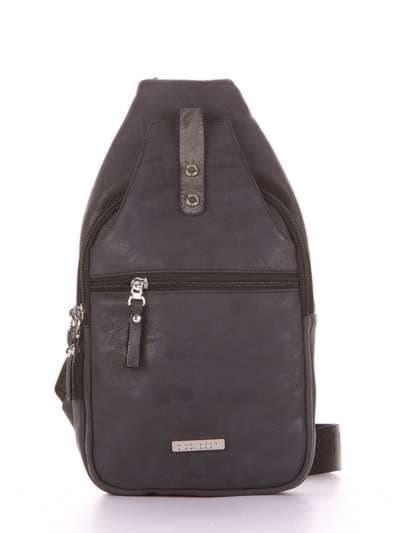 Брендовый моно рюкзак, модель 181654 черный. Фото товара, вид сбоку.