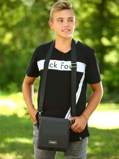 Брендовая сумка через плечо, модель 181644 черный. Фото товара, вид спереди._product-ru