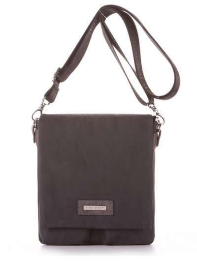 Брендовая сумка через плечо, модель 181644 черный. Фото товара, вид сбоку.