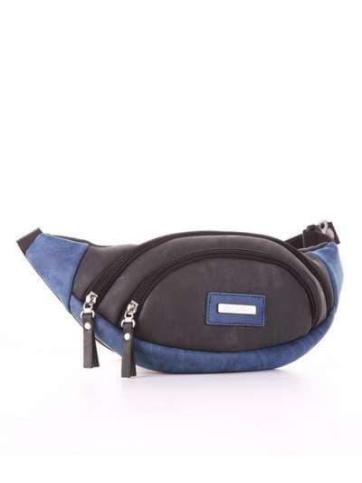Женская сумка на пояс, модель 181662 черный. Фото товара, вид сзади.