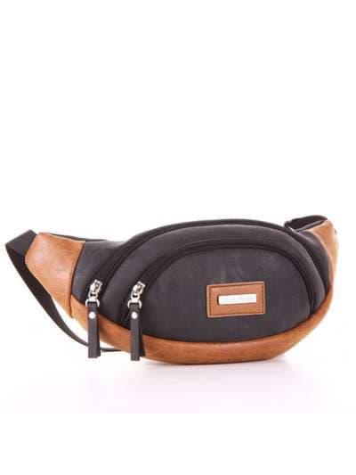 Модная сумка на пояс, модель 181663 черный. Фото товара, вид сзади.
