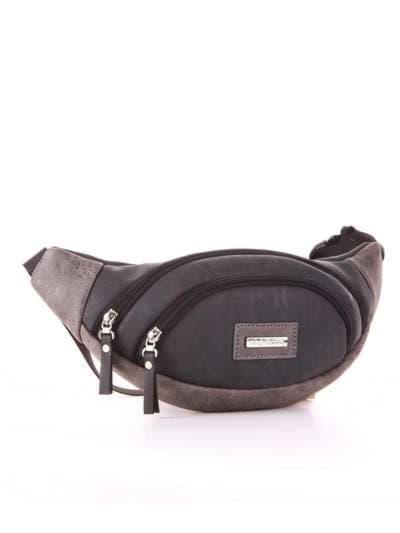 Модная сумка на пояс, модель 181664 черный. Фото товара, вид сзади.