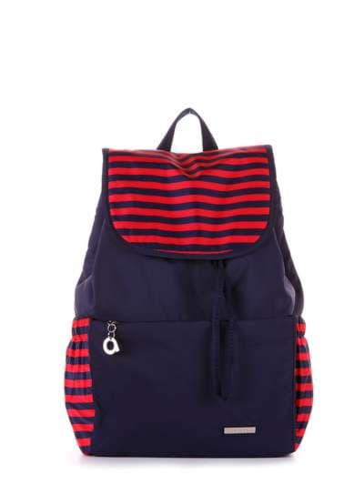 Женский рюкзак, модель 183812 синий/красная полоса. Фото товара, вид сбоку.
