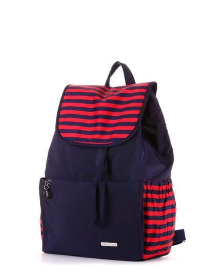 Женский рюкзак, модель 183812 синий/красная полоса. Фото товара, вид сзади.