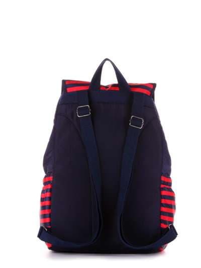 Женский рюкзак, модель 183812 синий/красная полоса. Фото товара, вид дополнительный.