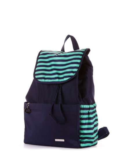 Модный рюкзак, модель 183813 синий/зелёная полоса. Фото товара, вид сзади.