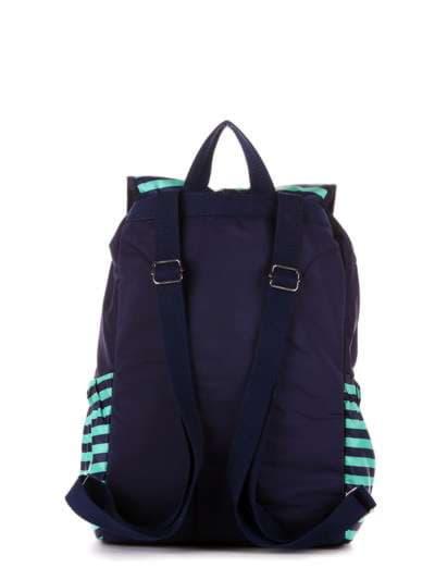 Модный рюкзак, модель 183813 синий/зелёная полоса. Фото товара, вид дополнительный.