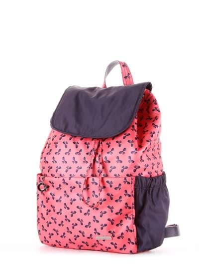 Женский рюкзак, модель 183815 коралловый/серый. Фото товара, вид сзади.
