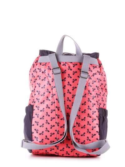 Женский рюкзак, модель 183815 коралловый/серый. Фото товара, вид дополнительный.