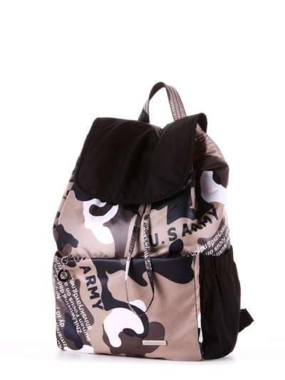 Стильный рюкзак, модель 183816 милитари/черный. Фото товара, вид сзади.
