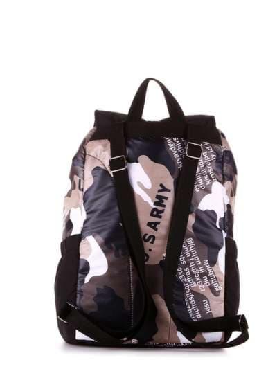 Стильный рюкзак, модель 183816 милитари/черный. Фото товара, вид дополнительный.
