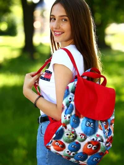 Брендовый рюкзак, модель 183817 веселые пушистики/красный. Фото товара, вид спереди.