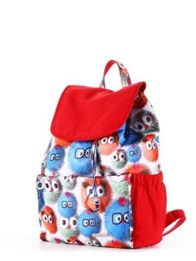 Брендовый рюкзак, модель 183817 веселые пушистики/красный. Фото товара, вид сзади.