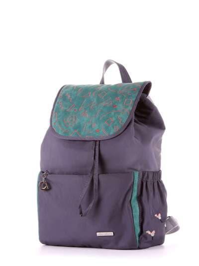 Молодежный рюкзак, модель 183843 серо-зеленый. Фото товара, вид сзади.