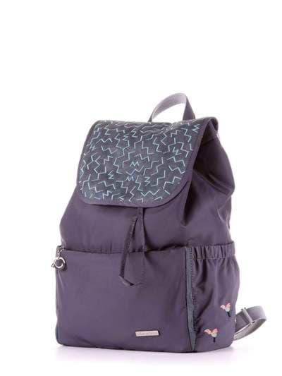 Стильный рюкзак, модель 183844 серый. Фото товара, вид сзади.
