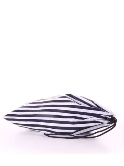 Стильный мешочек для обуви, модель 183831 синий/белая полоса. Фото товара, вид сзади.