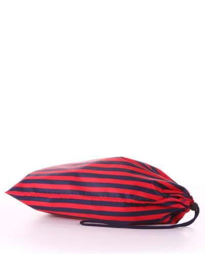 Молодежный мешочек для обуви, модель 183832 синий/красная полоса. Фото товара, вид сзади.