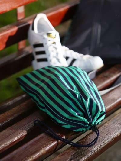 Молодежный мешочек для обуви, модель 183833 синий/зелёная полоса. Фото товара, вид спереди._product-ru