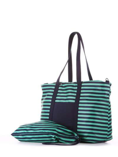 Молодежный мешочек для обуви, модель 183833 синий/зелёная полоса. Фото товара, вид сзади.
