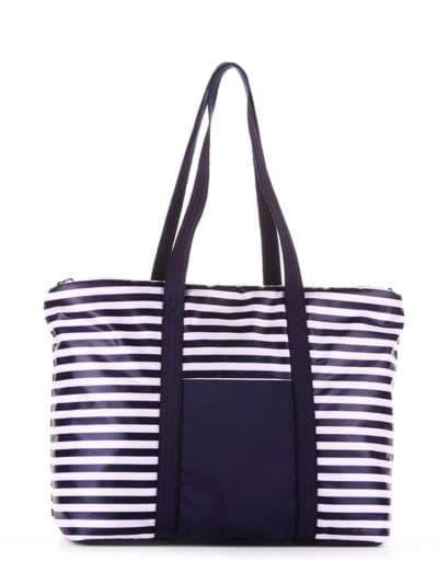Модная сумка, модель 183801 синий/белая полоса. Фото товара, вид сзади.