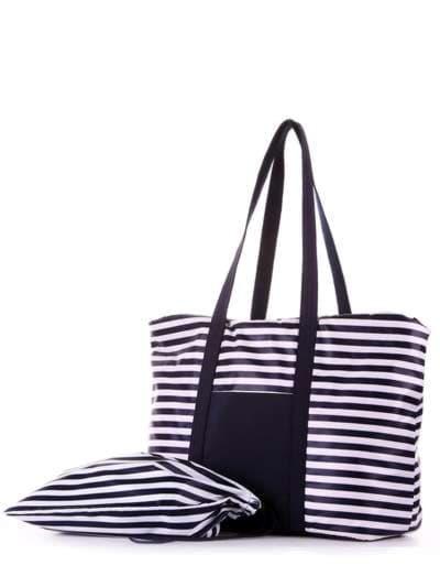 Модная сумка, модель 183801 синий/белая полоса. Фото товара, вид дополнительный.