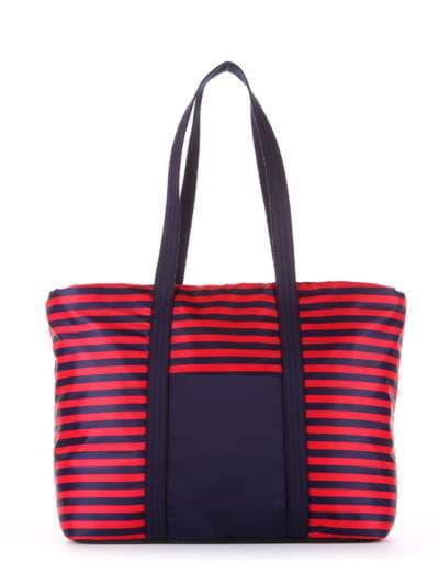 Стильная сумка, модель 183802 синий/красная полоса. Фото товара, вид сбоку.