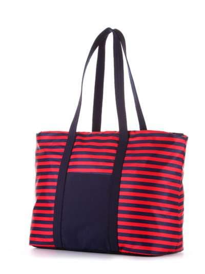 Стильная сумка, модель 183802 синий/красная полоса. Фото товара, вид сзади.