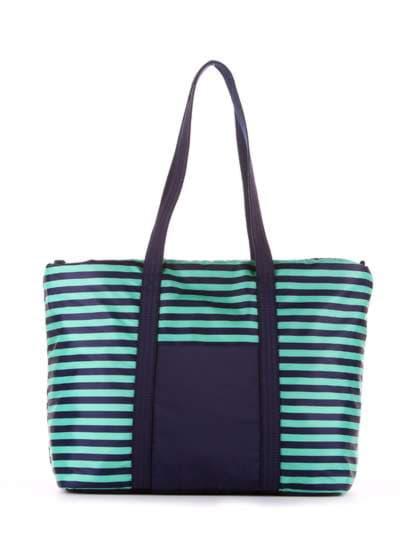 Стильная сумка, модель 183803 синий/зелёная полоса. Фото товара, вид сбоку.
