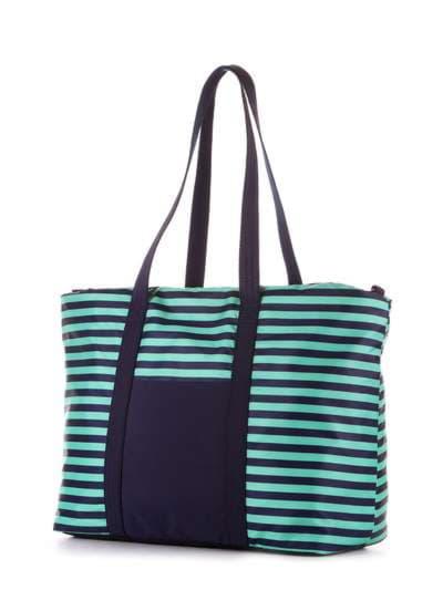 Стильная сумка, модель 183803 синий/зелёная полоса. Фото товара, вид сзади.
