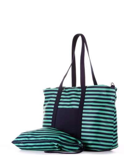 Стильная сумка, модель 183803 синий/зелёная полоса. Фото товара, вид дополнительный.