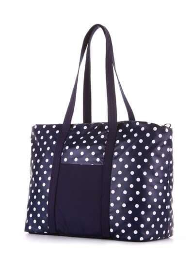 Молодежная сумка, модель 183804 синий/белый горох. Фото товара, вид сзади.