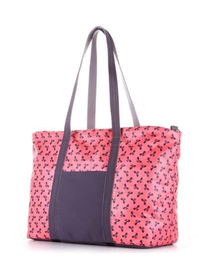 Модная сумка, модель 183805 коралловый/серый. Фото товара, вид сзади.