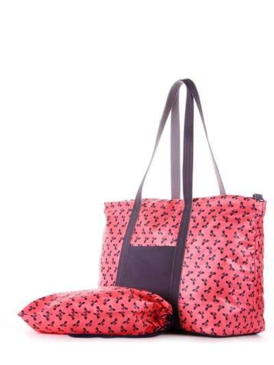 Модная сумка, модель 183805 коралловый/серый. Фото товара, вид дополнительный.