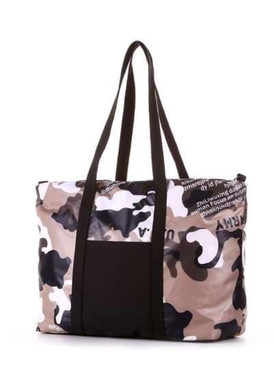 Женская сумка, модель 183806 милитари/черный. Фото товара, вид сзади.