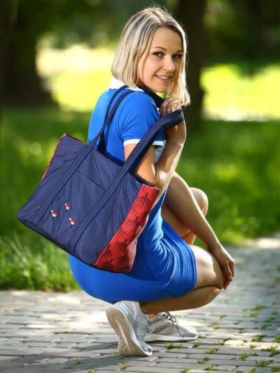 Брендовая сумка, модель 183861 сине-красный. Фото товара, вид спереди.