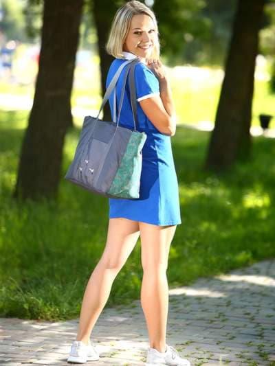 Молодежная сумка, модель 183863 серо-зеленый. Фото товара, вид спереди.