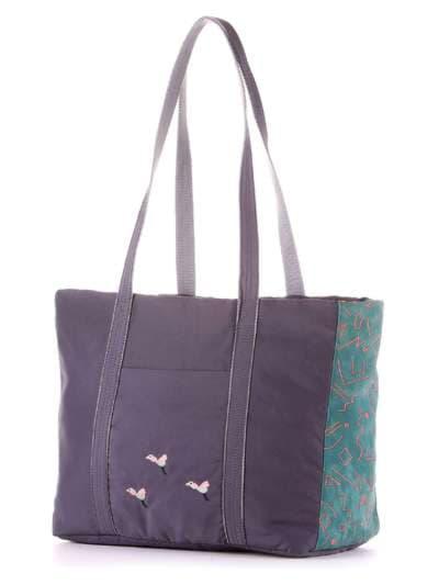 Молодежная сумка, модель 183863 серо-зеленый. Фото товара, вид сзади.